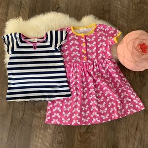 Hanna Andersson Dress and Shirt Butterly 120 6/7